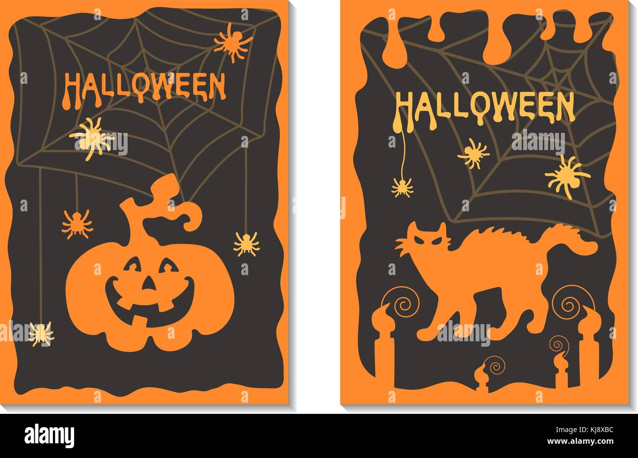 A set of postcards Halloween. - Stock Image