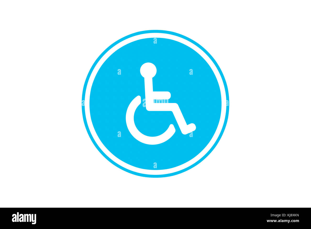 View of disabled wheel chair person sign for handicap parking area, isolated on white background. - Stock Image