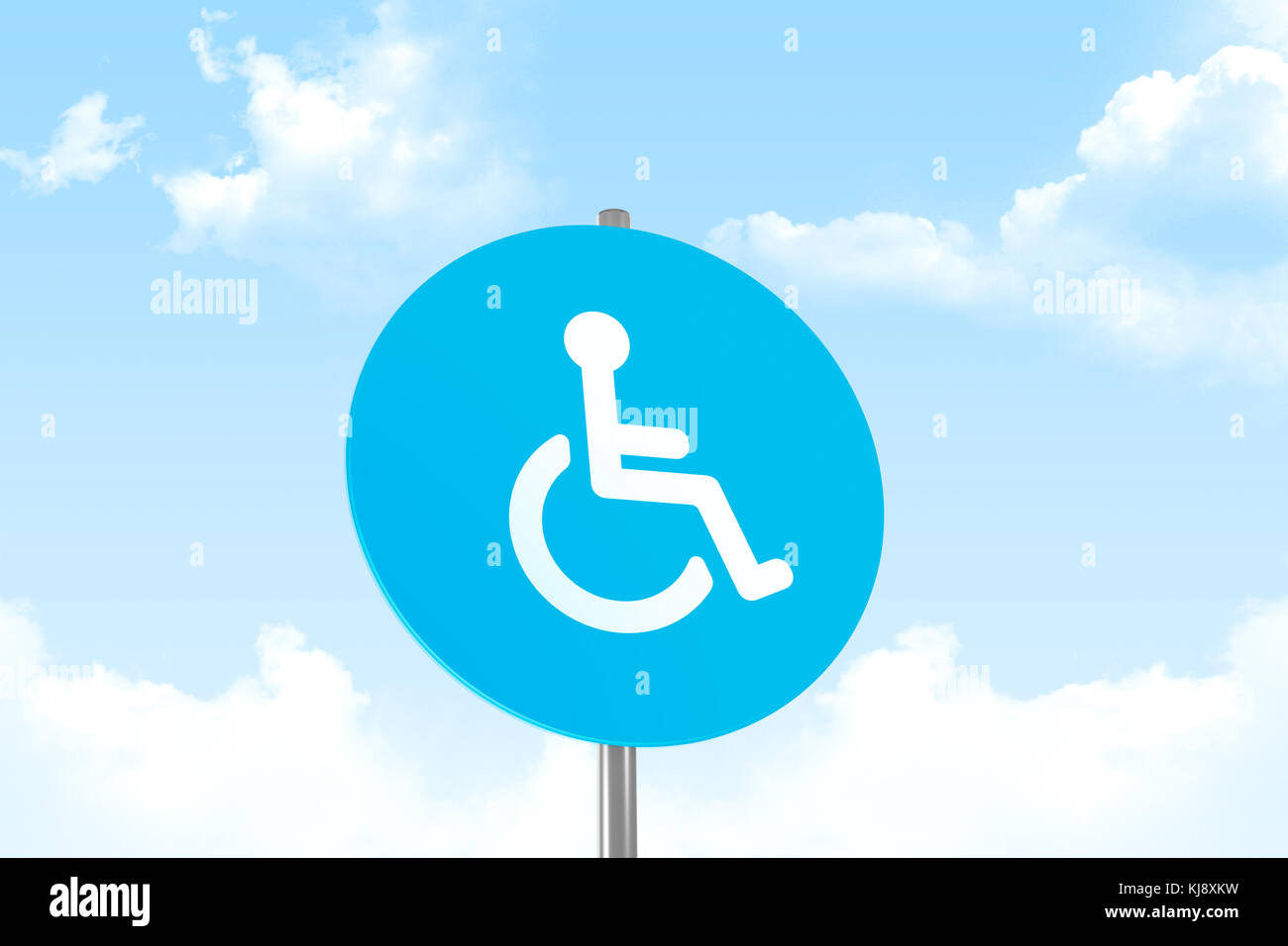 View of disabled wheel chair person sign for handicap parking area on cloudy sky background. - Stock Image