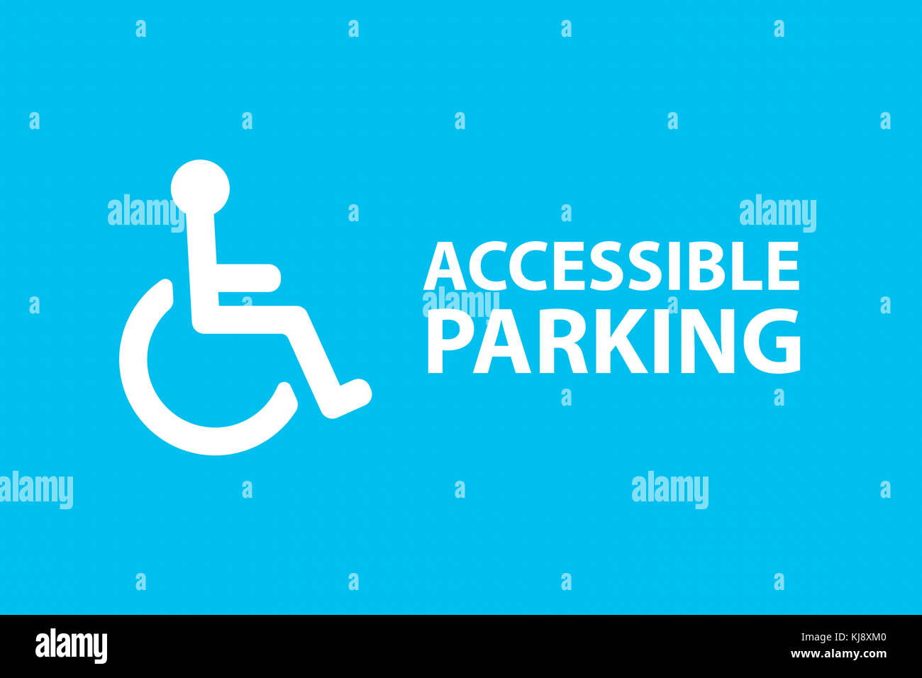 Illustrative handicap parking area with disabled wheel chair person symbol and accessible parking sentence on blue - Stock Image