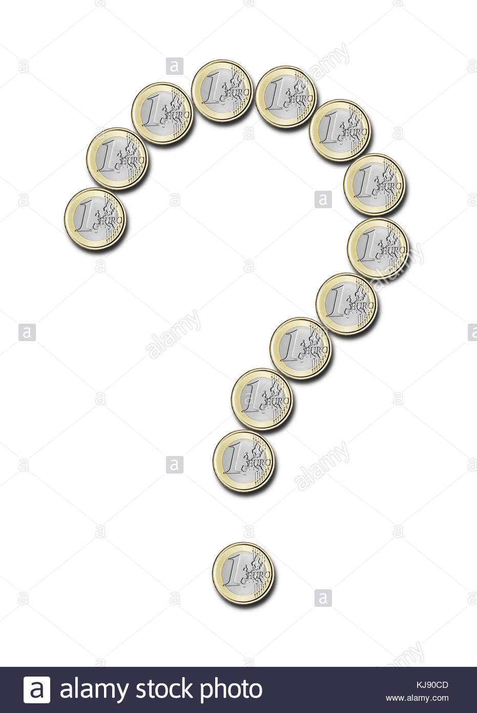 euro coins in the shape of question mark on white background - Stock Image