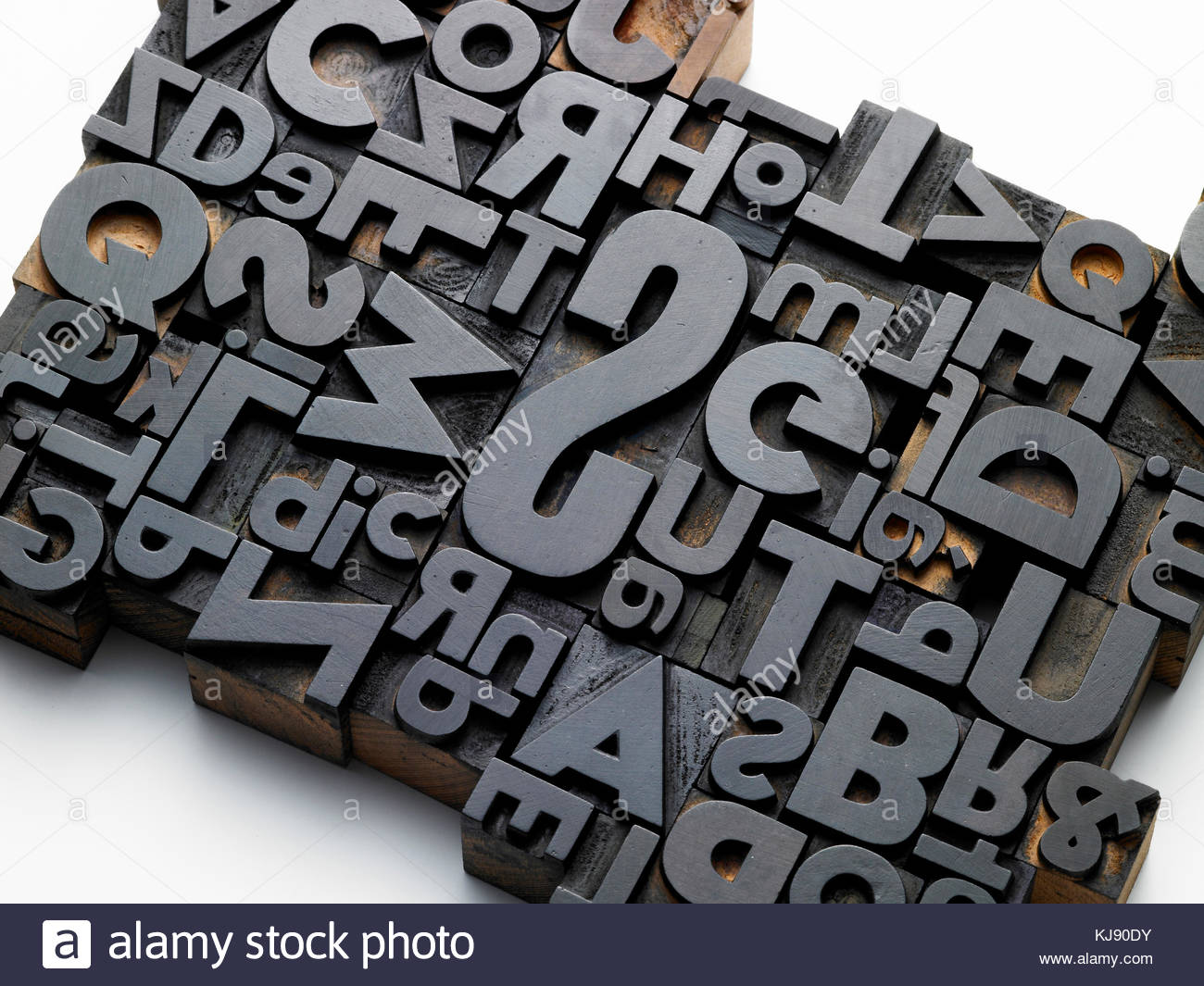 old typefaces in oblique composition - Stock Image