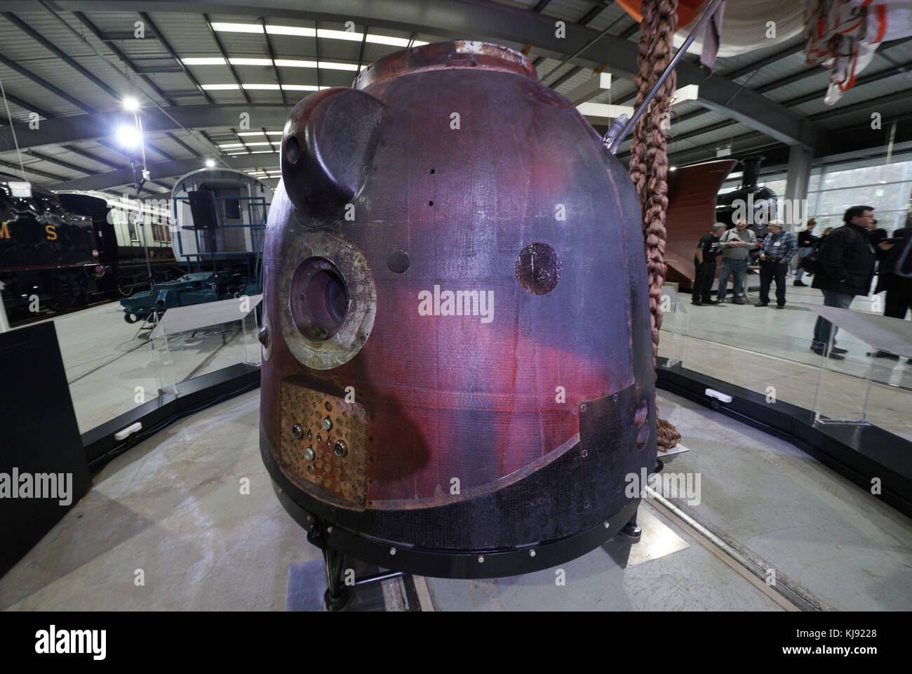 The Soyuz TMA-19M spacecraft which astronaut Tim Peake travelled back to earth from the International Space Station - Stock Image