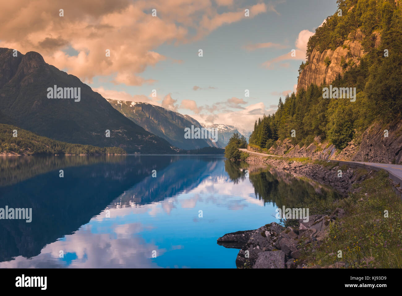Hardanger Fjord Norway landscape. - Stock Image