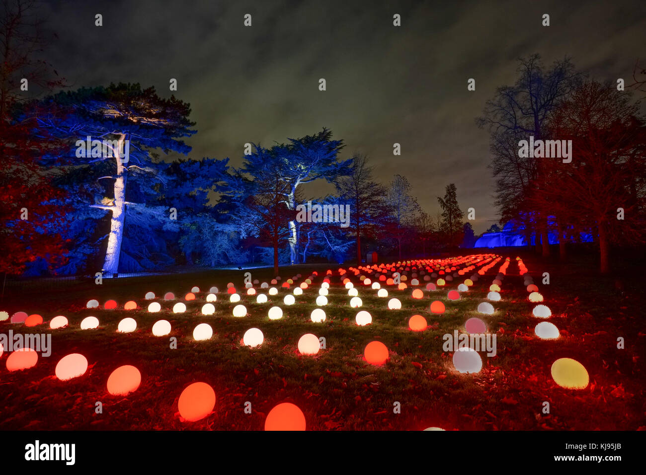 London, UK. 21st Nov, 2017. Night views of Christmas at Kew, an after-dark walk featuring light and sound installations Stock Photo