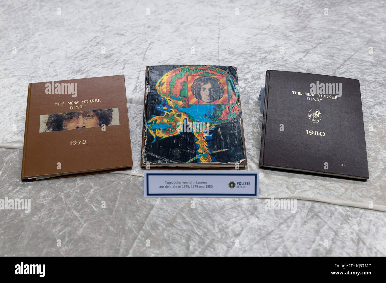 Diaries, pieces of the stolen belongings of The Beatles' John Lennon who was killed in New York on 1980, are - Stock Image
