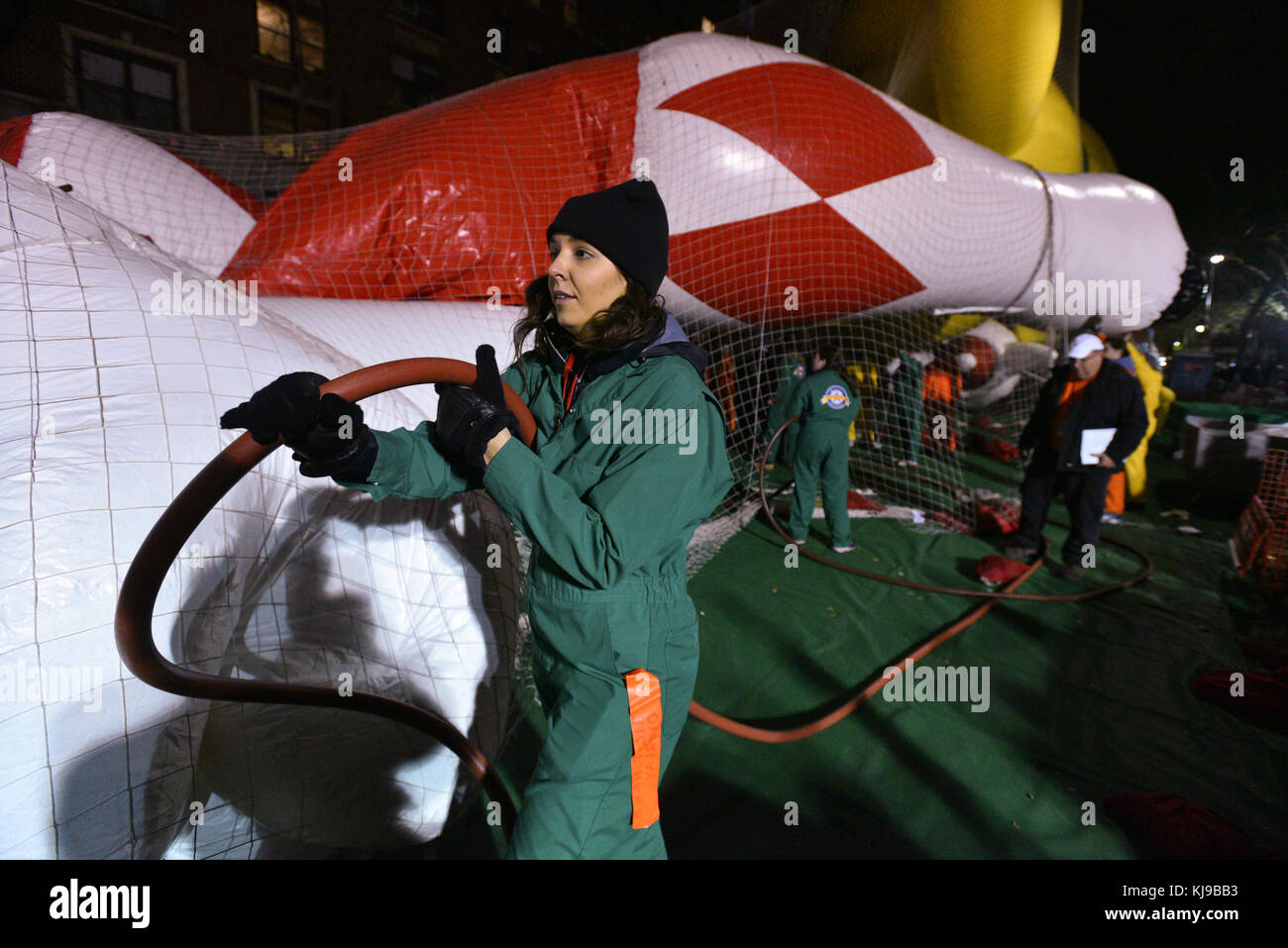 New York, USA. 22nd Nov, 2017. Red Mighty Morphin Power Ranger balloon is inflated to prepare for the 91st Annual - Stock Image