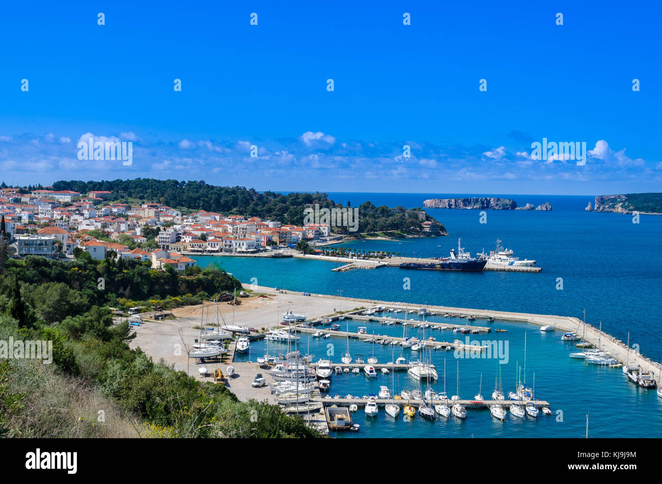 Pylos, the picturesque and peaceful town of the Messinia prefecture located in southwestern part of Greece at the Stock Photo