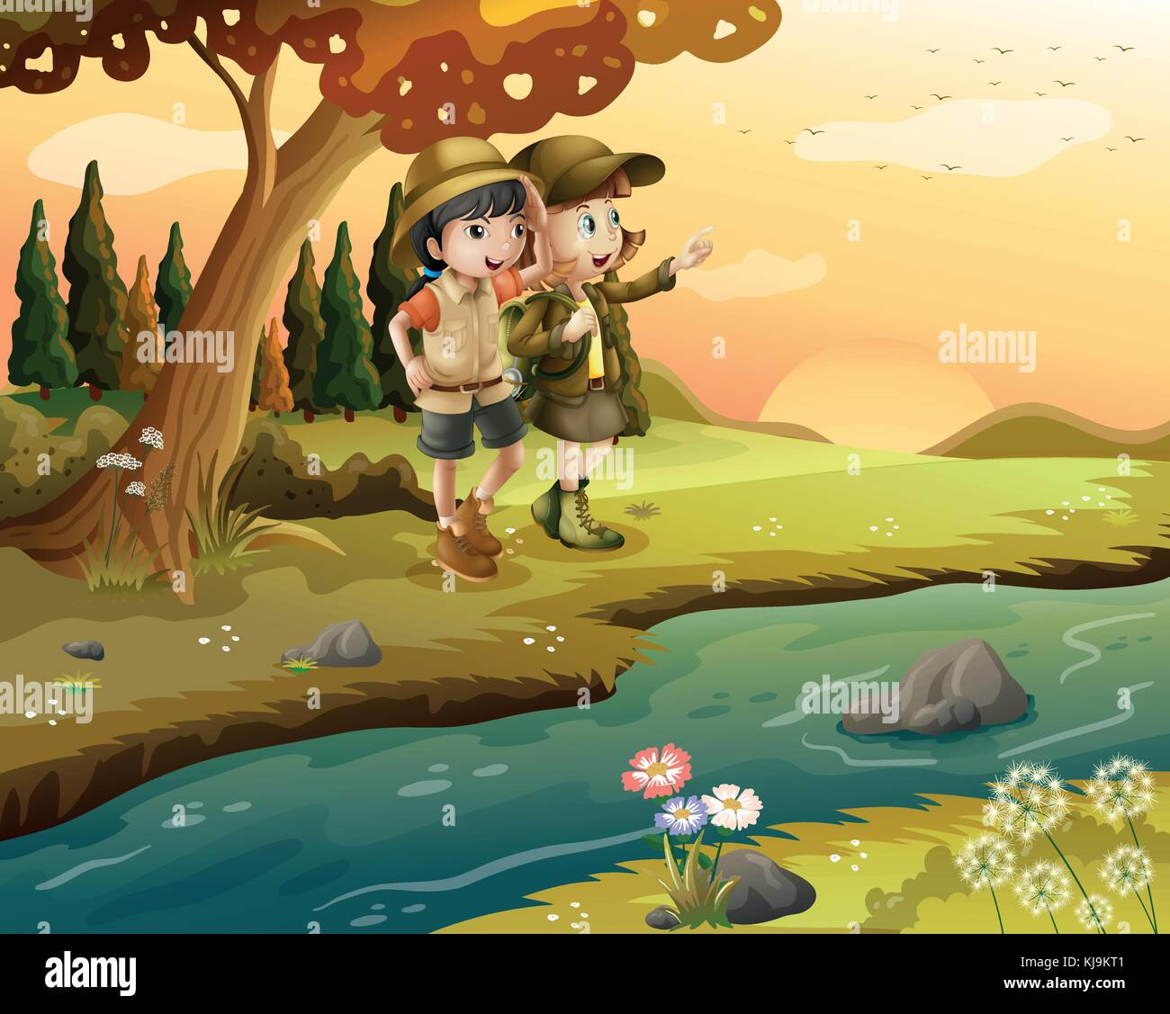 Illustration of a girl and a boy at the riverbank - Stock Vector