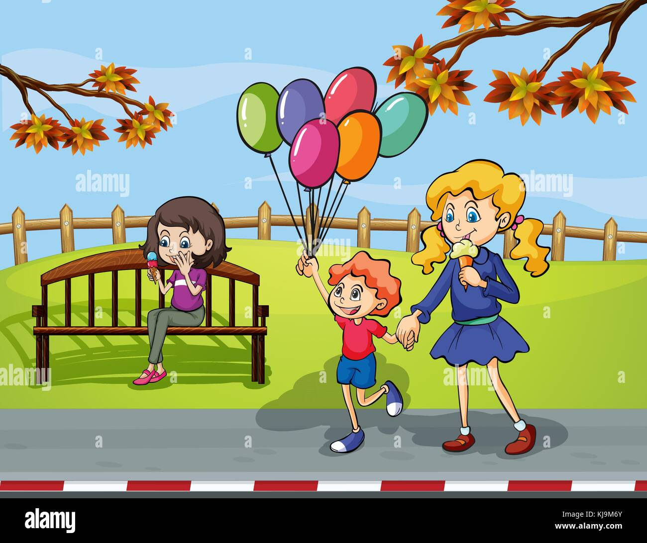 Illustration of two girls with a kid holding a balloon in the park - Stock Vector