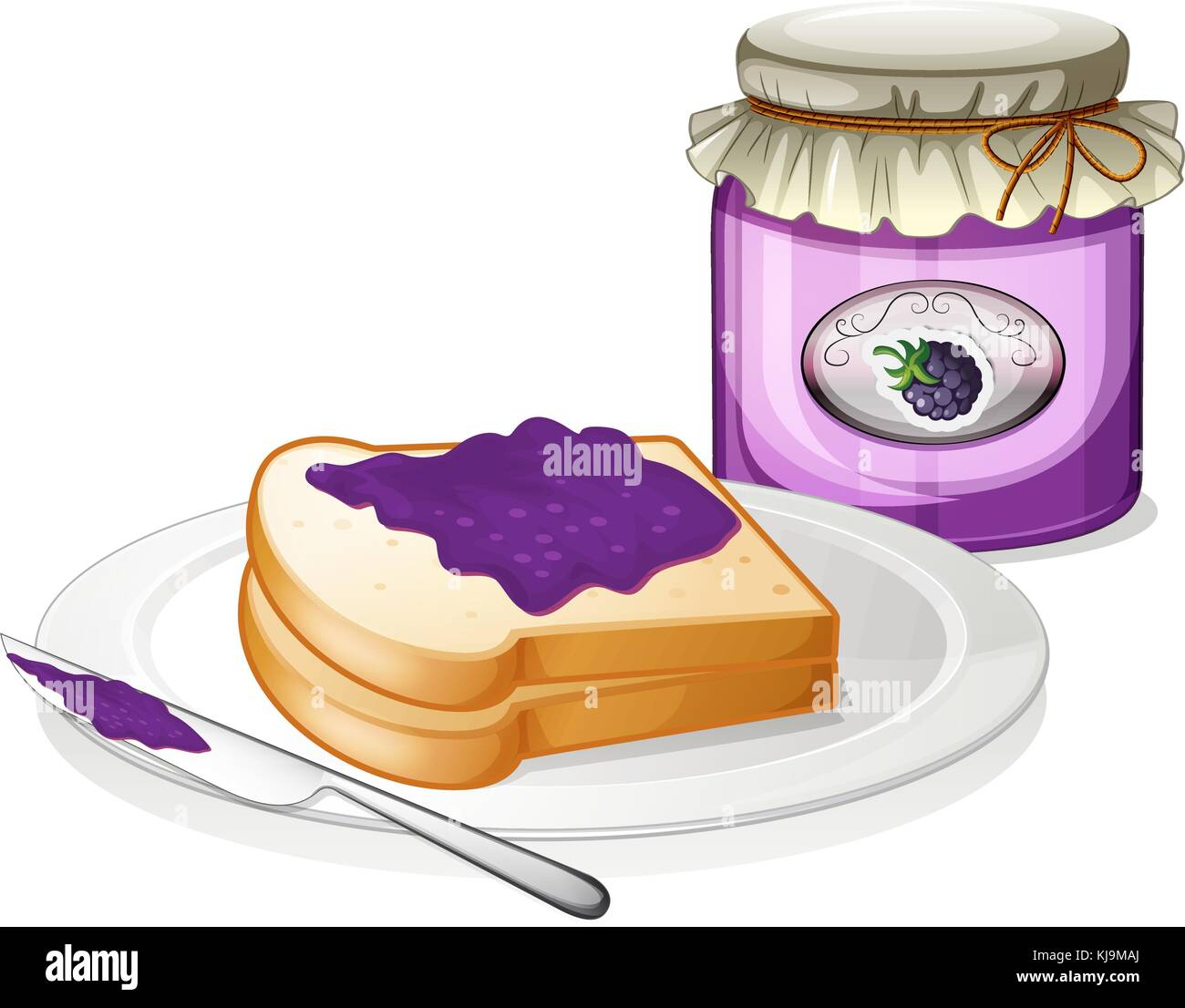 Illustration of a slice bread and a bottle of grape jam on a white background - Stock Vector