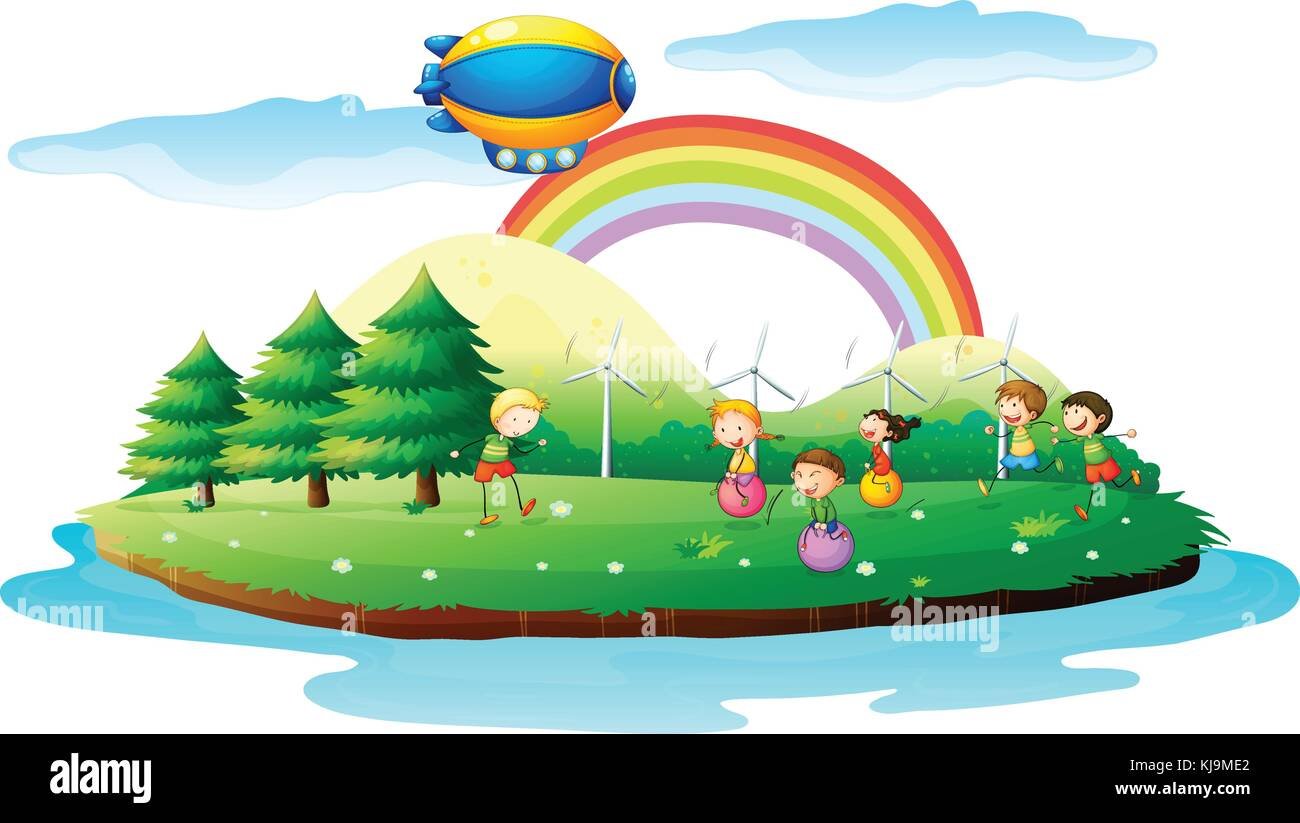 Illustration of kids playing in the ground on a white background - Stock Vector