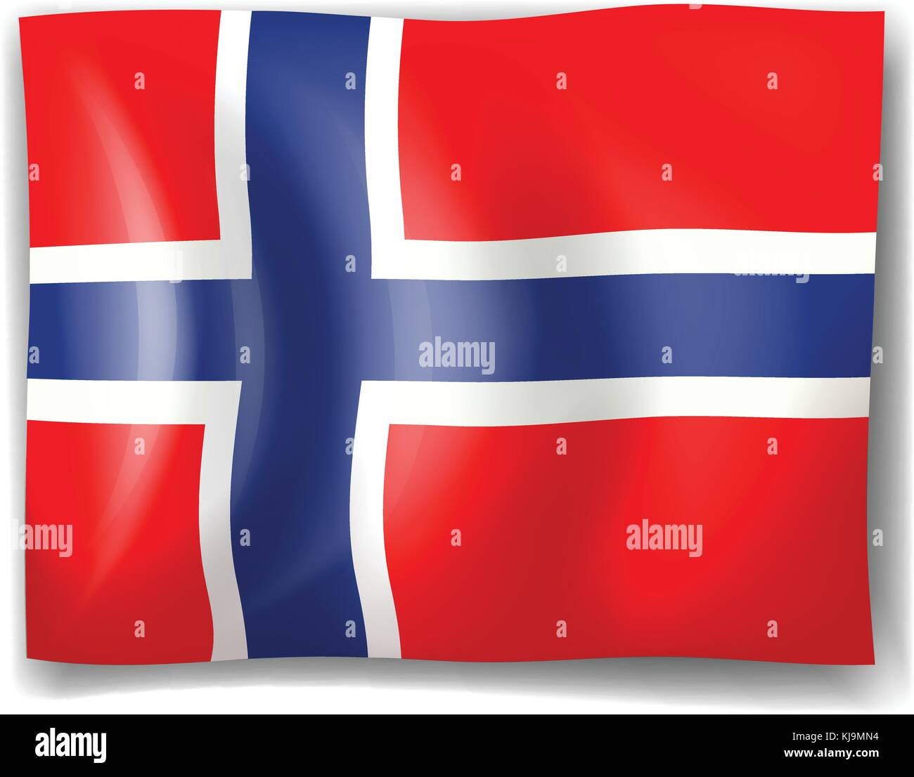 Illustration of the flag of Norway on a white background - Stock Image