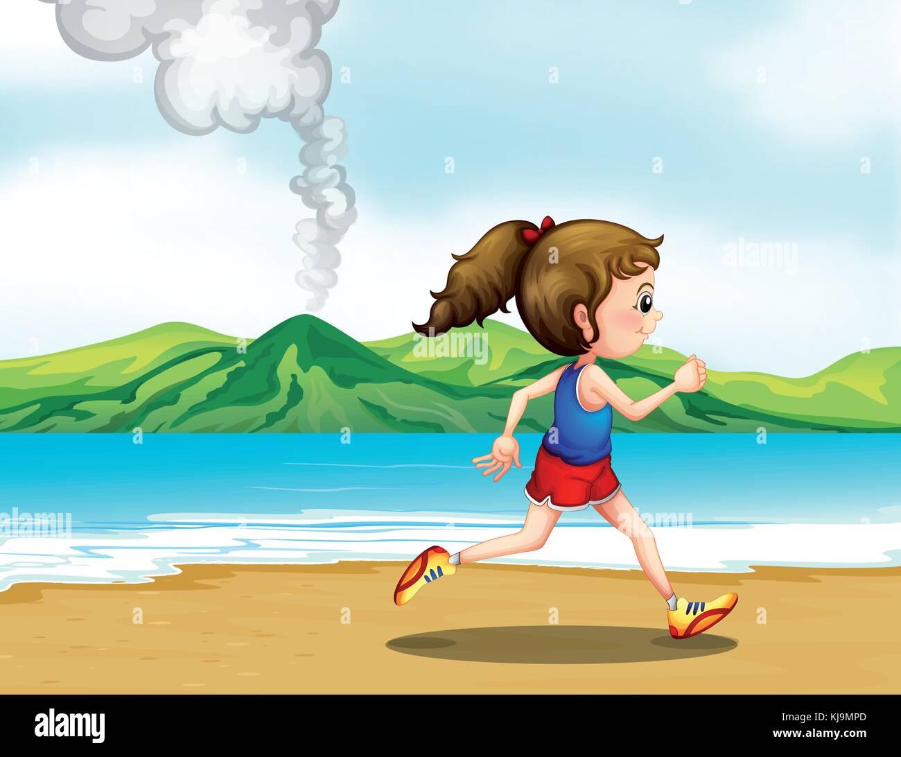Illustration of a girl jogging at the seashore - Stock Vector
