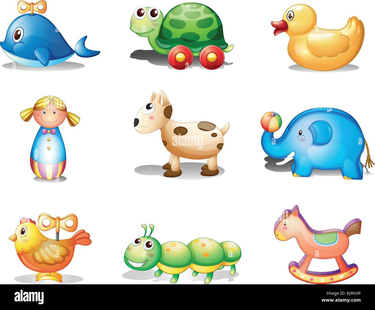 Illustration of the different toys for kids on a white background Stock Vector