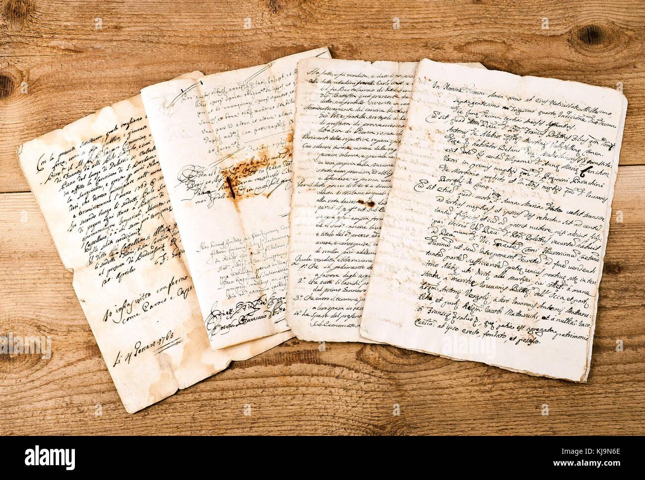 antique handwritings  on wood background - Stock Image
