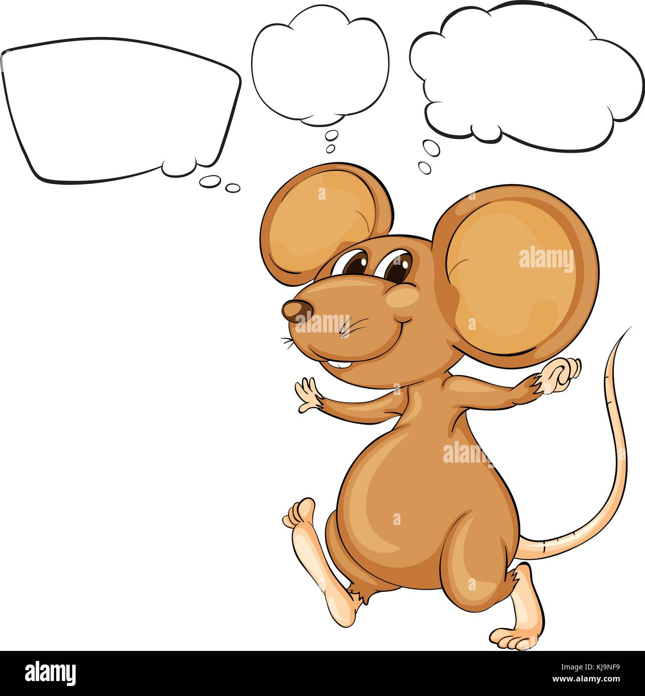 Illustration of the mighty brown mouse on a white background - Stock Image