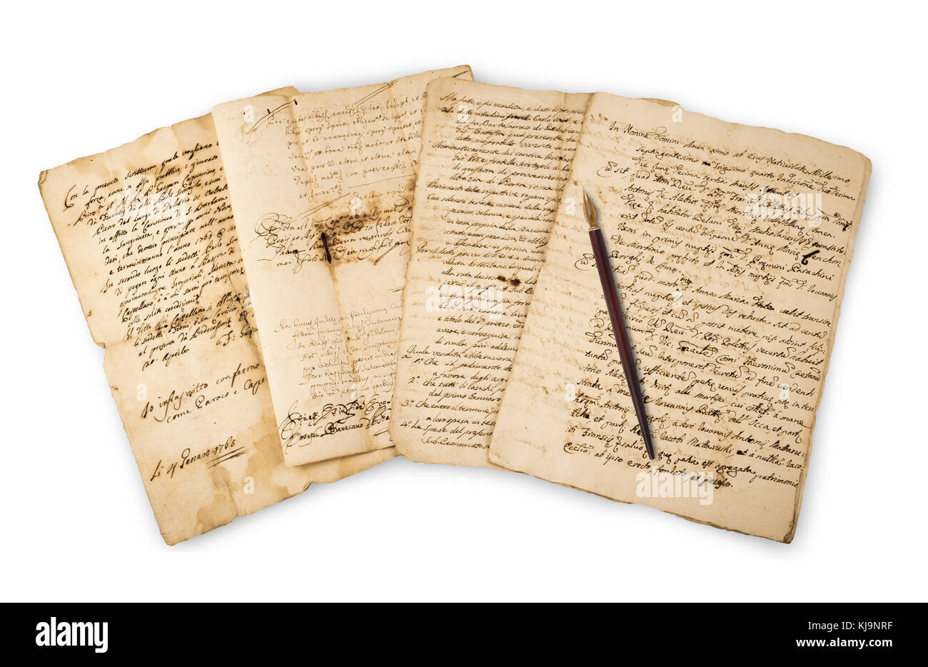 Pile of old vintage manuscripts with nib  isolated on white - Stock Image