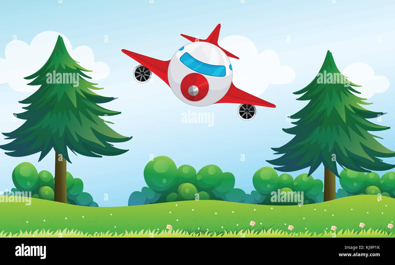 Illustration of an airplane above the hills - Stock Vector