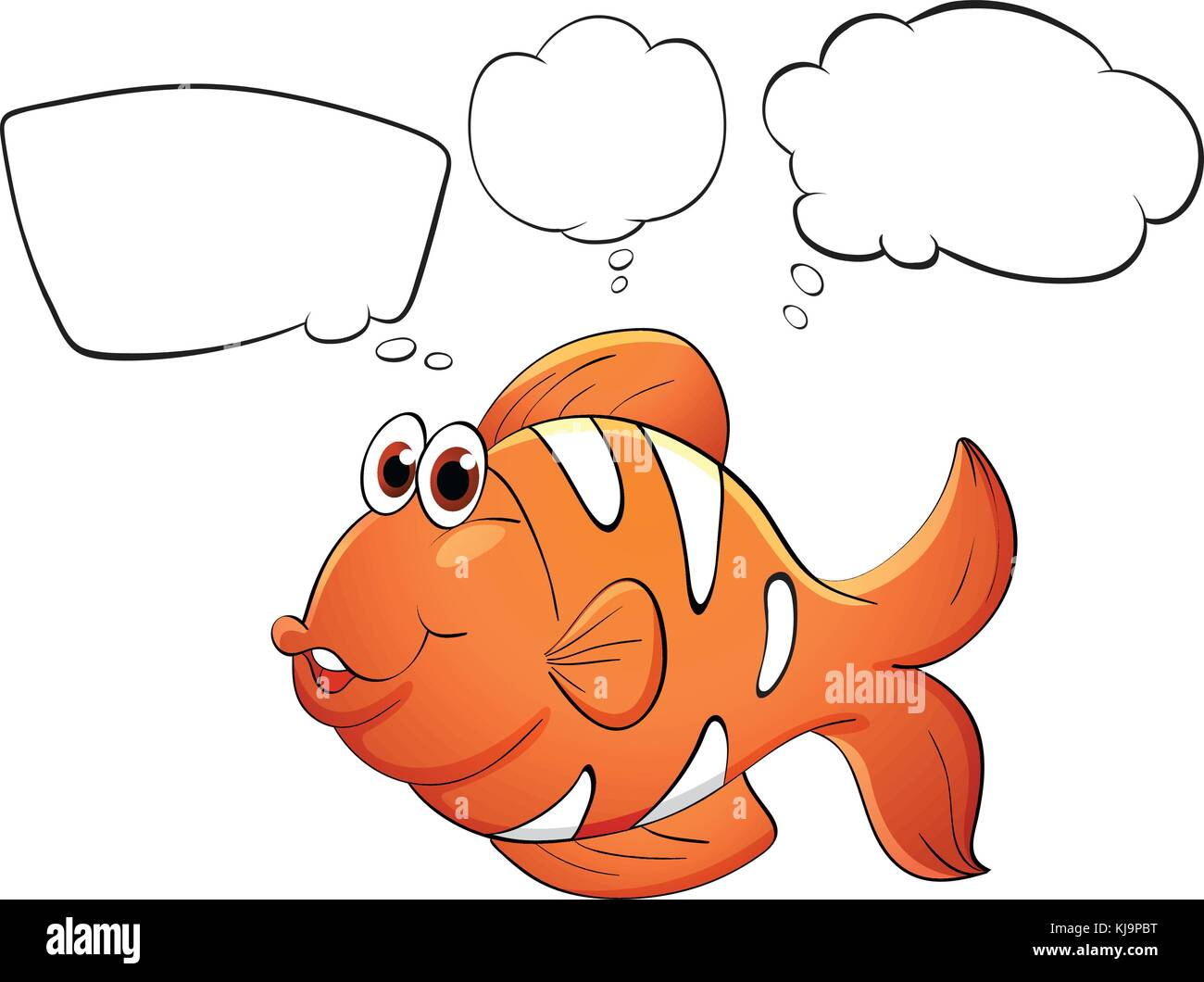 Illustration of an orange fish with empty bubbles notes on a white background - Stock Vector