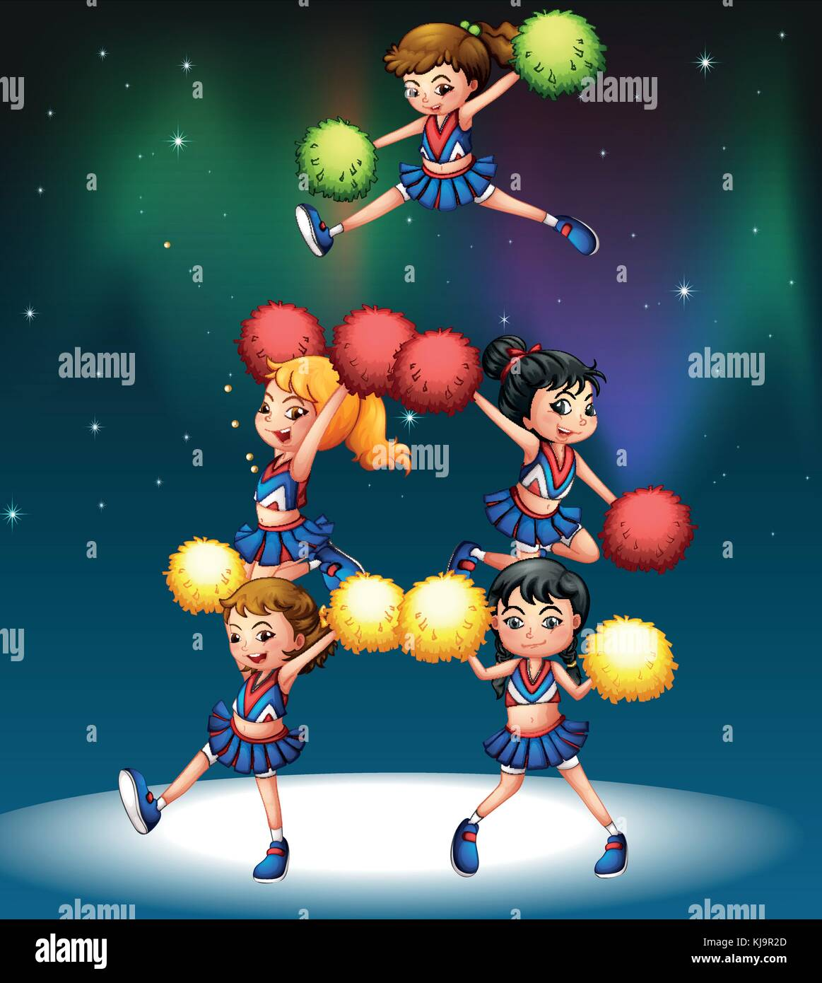 Illustration of a cheering squad - Stock Vector