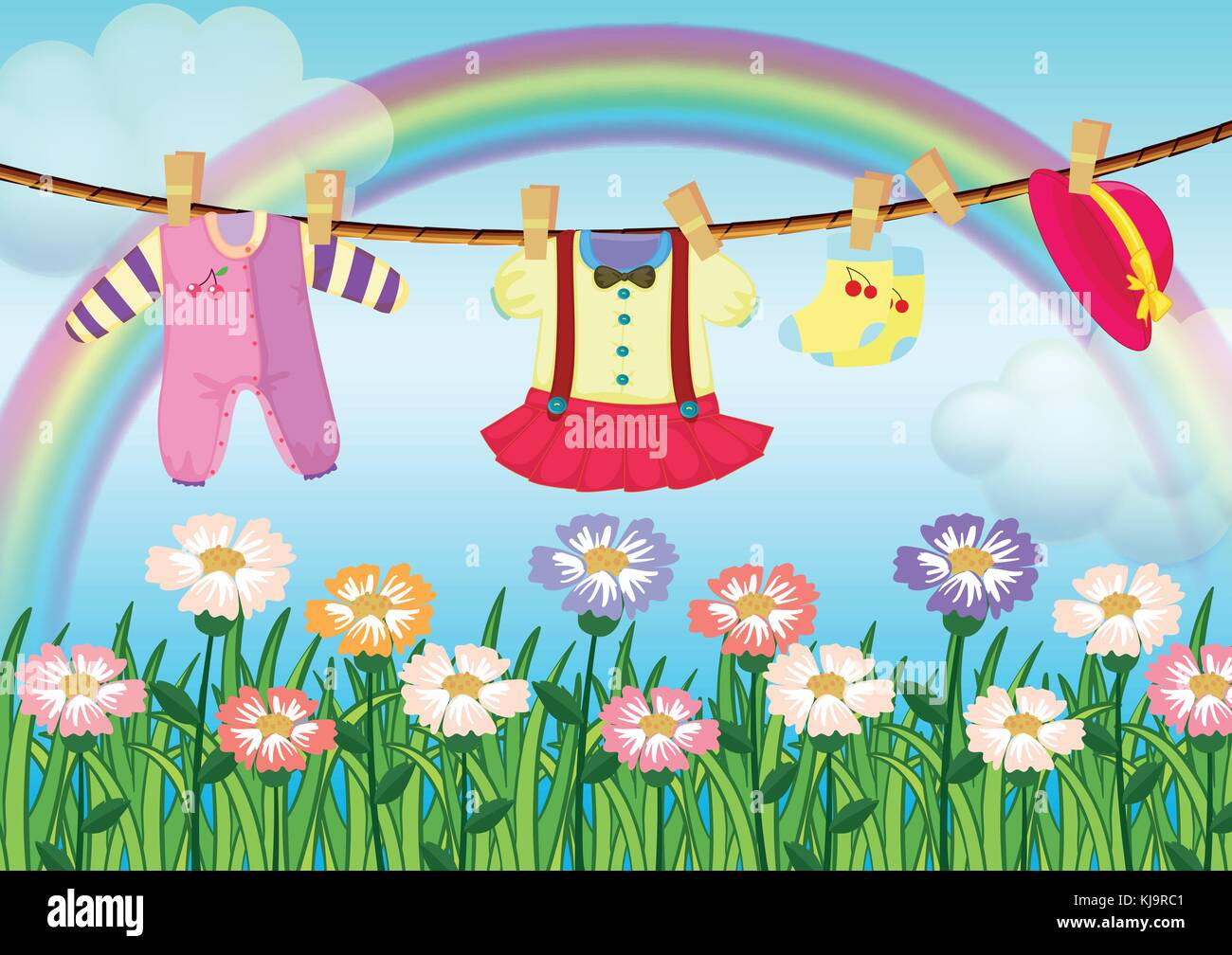 Illustration of a baby girl's clothes - Stock Vector