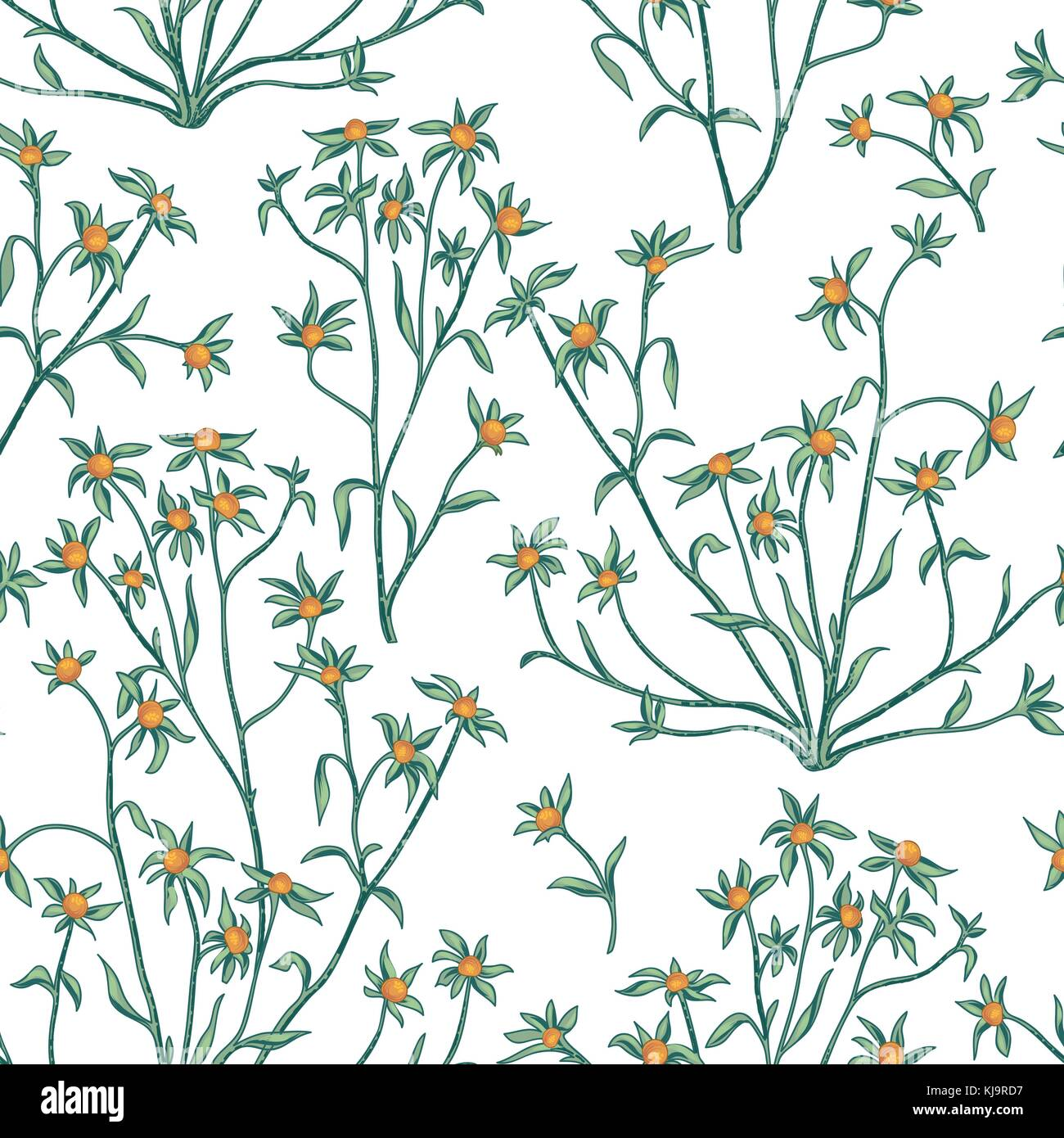 Floral Leaves And Berry Seamless Pattern Wild Nature Retro Background Flourish Wallpaper With Plants