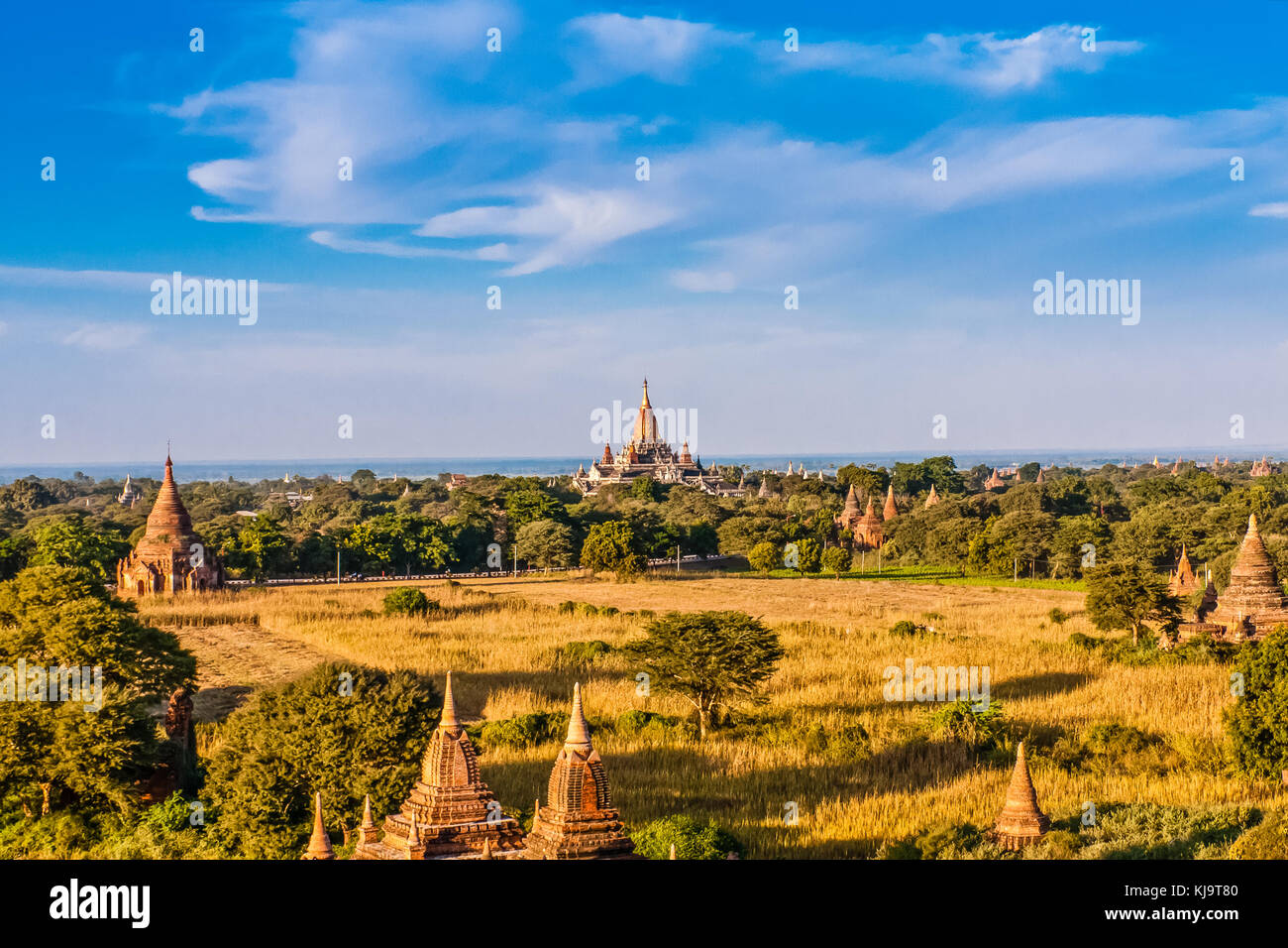 Pagodas of Old Bagan with the Ananda Temple, Myanmar - Stock Image