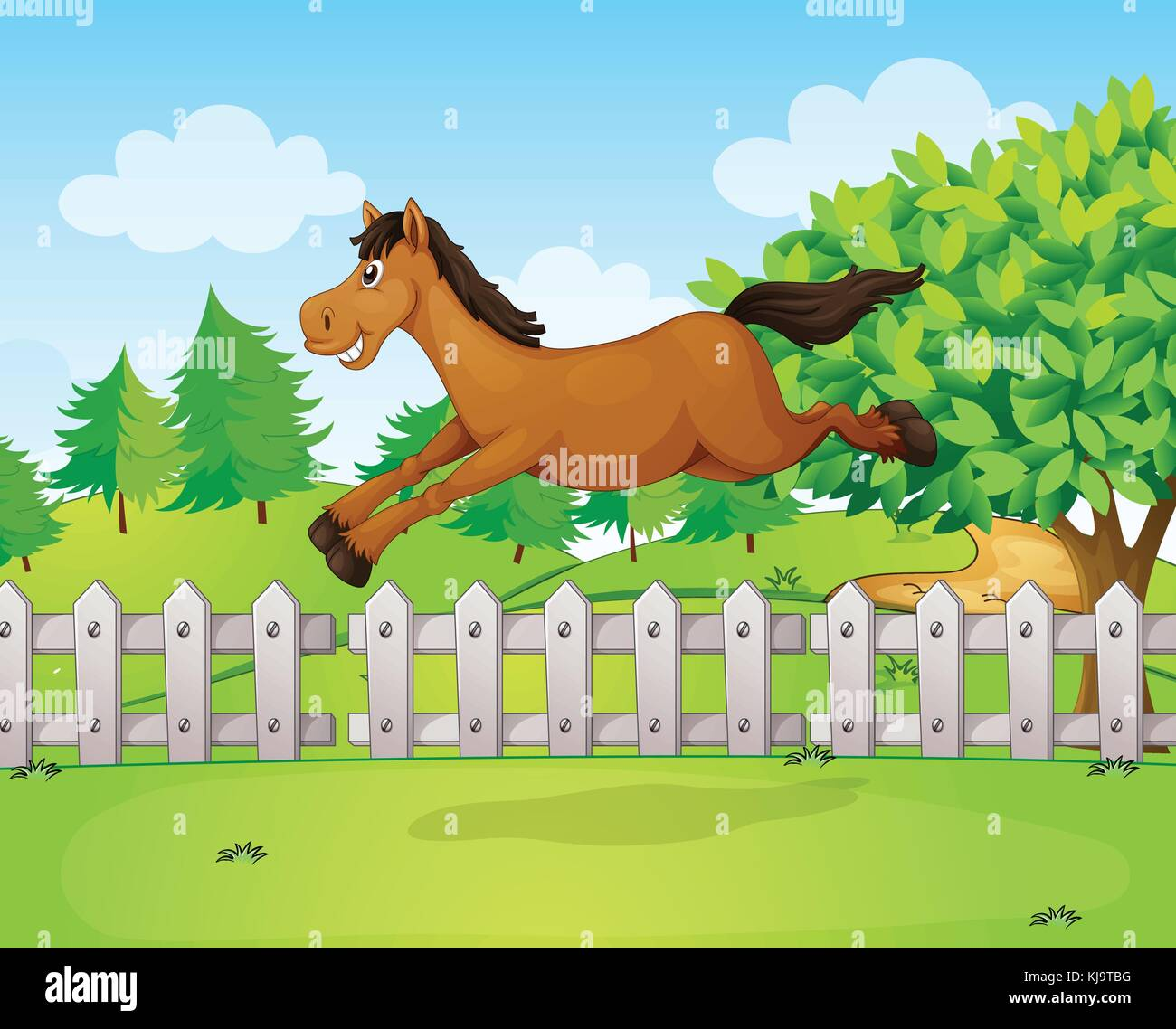 Illustration Of A Horse Jumping Over The Fence Stock Vector Image Art Alamy