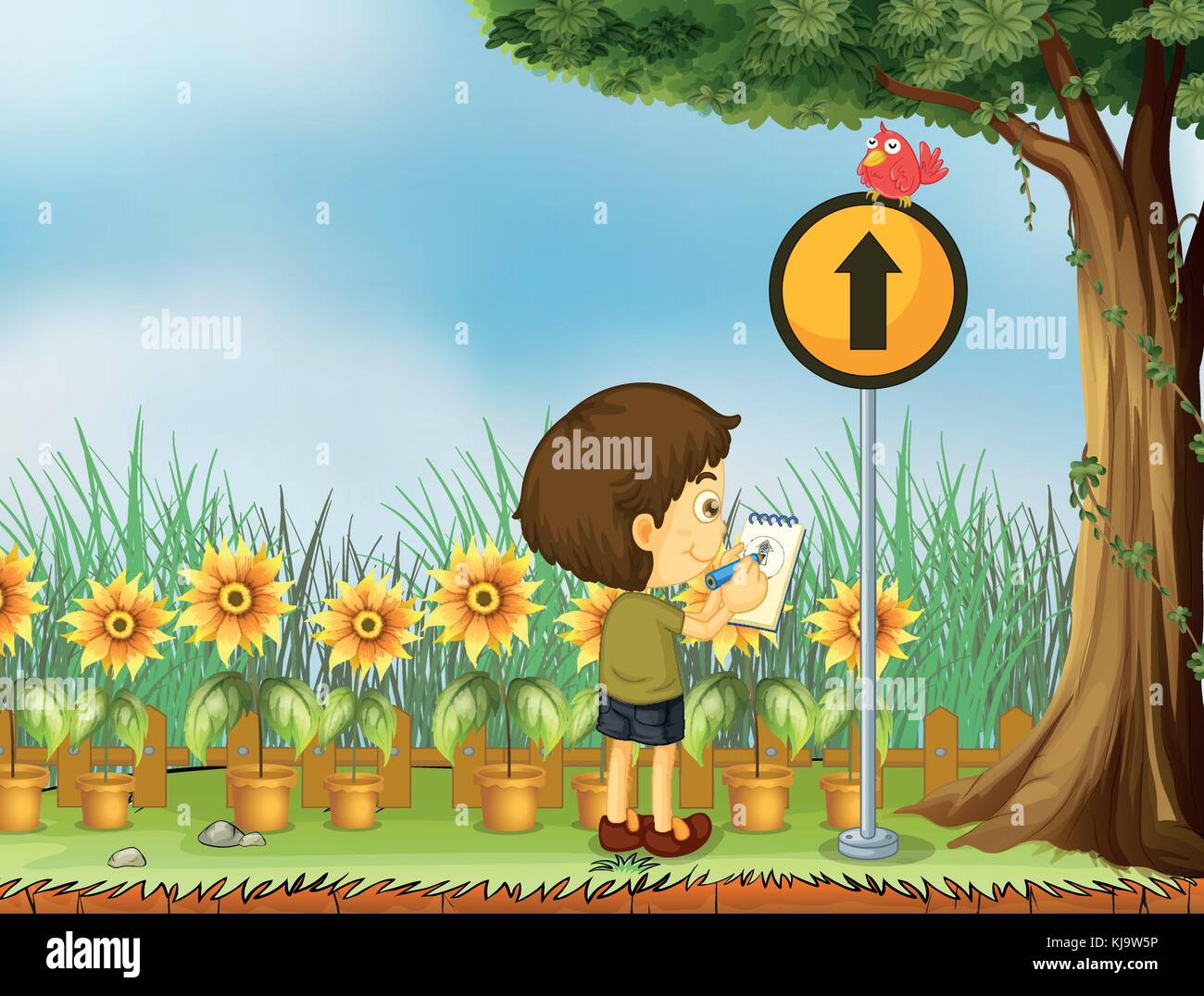 Illustration of a boy trying to draw the bird above the yellow post - Stock Vector