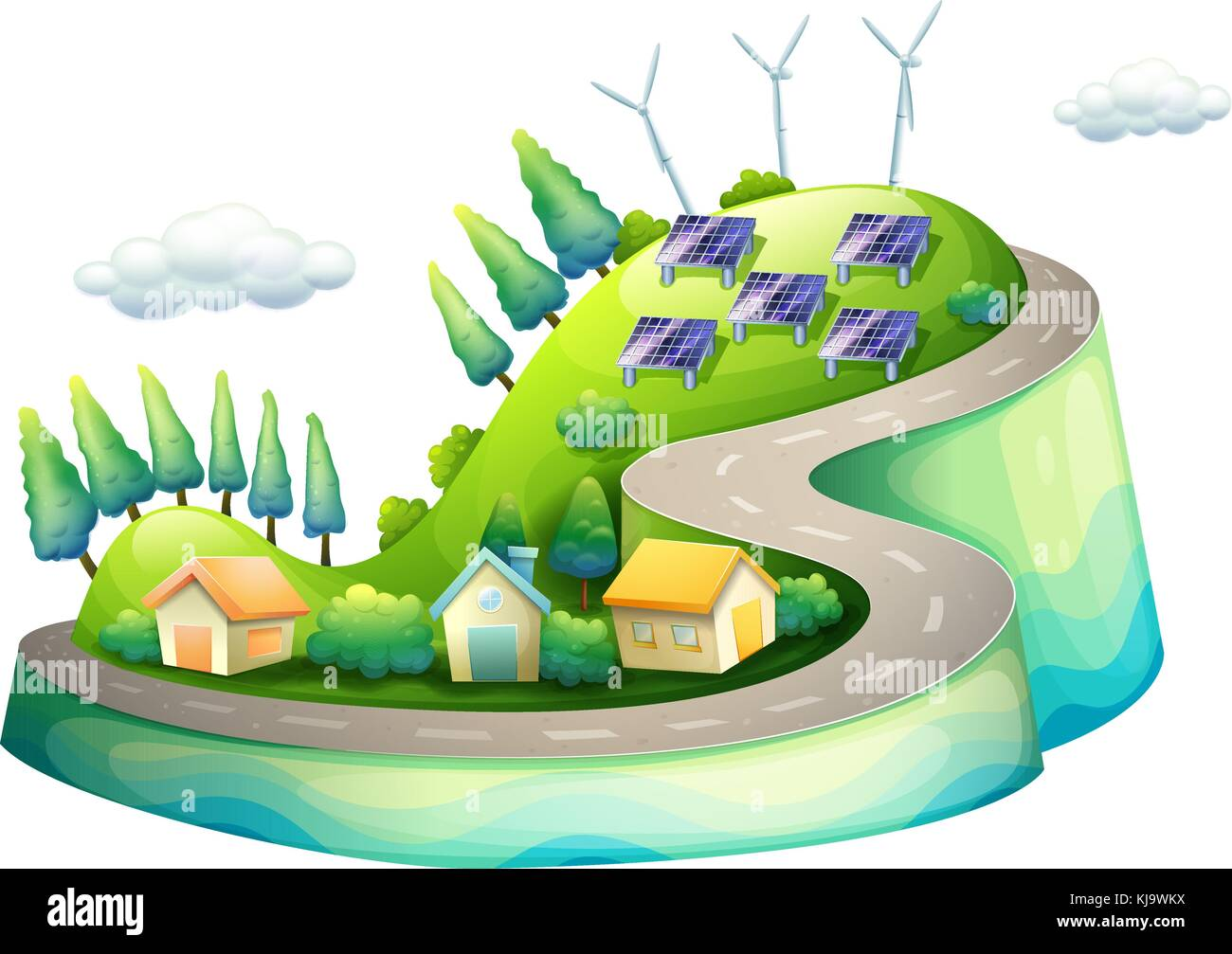 Illustration of a full view of a city with windmills - Stock Vector