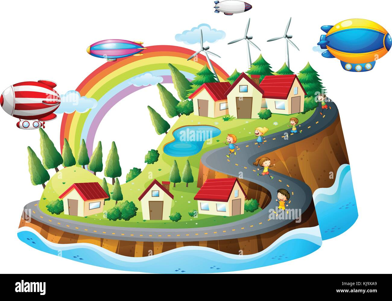 Illustration of a village view with kids on a white background - Stock Vector