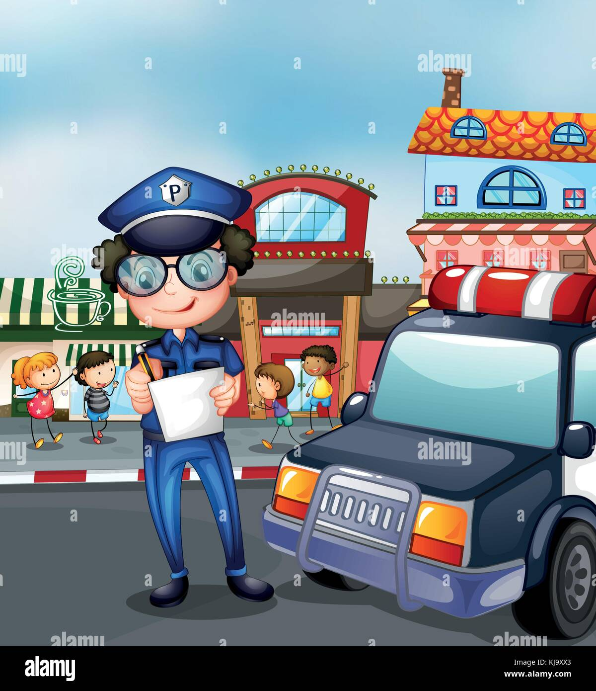 Illustration of a policeman at a busy street - Stock Vector