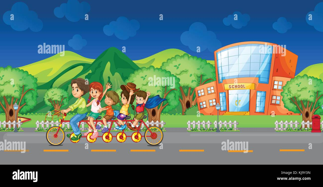 Illustration of a family bike in front of the school - Stock Vector