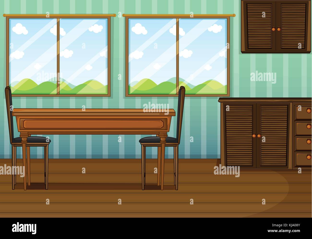 Illustration Of A Clean Dining Room With Wooden Furnitures