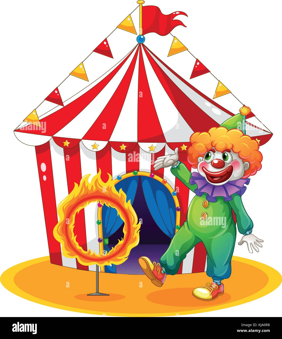 Illustration of a tent at the back of the clown and the ring of fire on a white background - Stock Image
