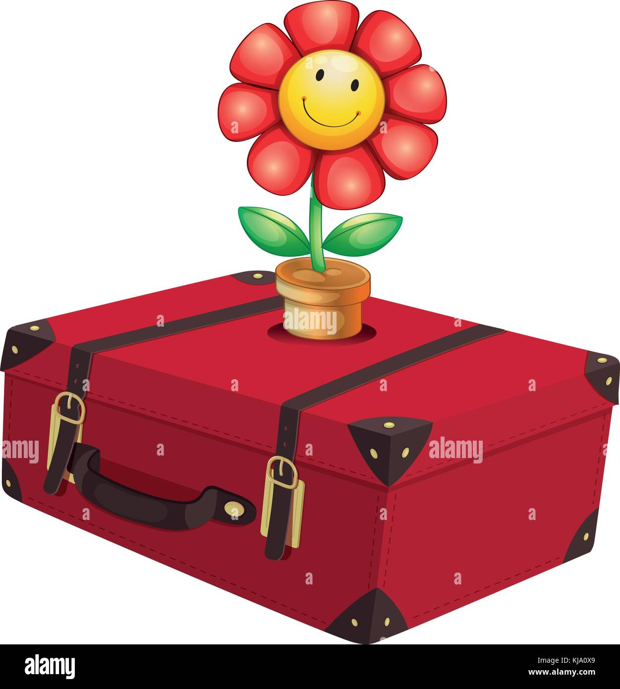 Illustration of a red travelling bag with a plant on a white background - Stock Vector
