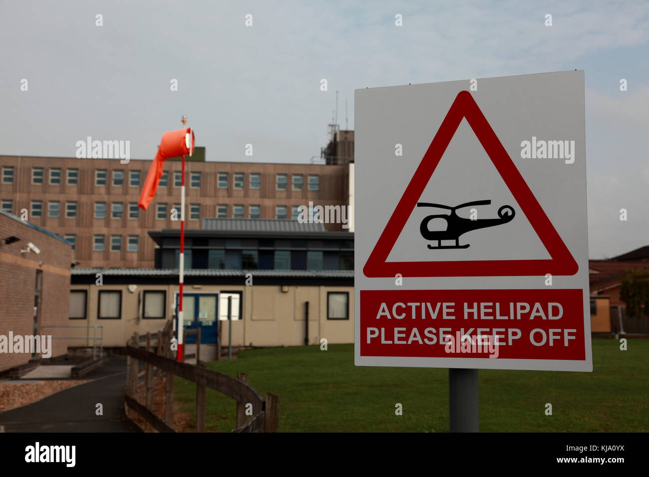 A sign next to the helipad at the NHS Royal Shrewsbury Hospital, a teaching hospital - Stock Image