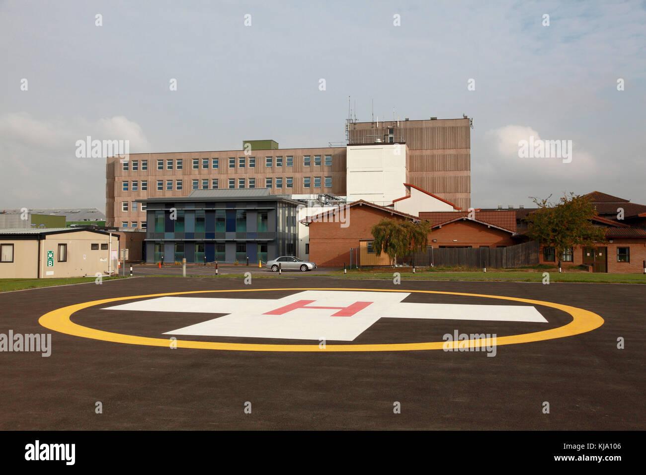 The helipad at the NHS Royal Shrewsbury Hospital, a teaching hospital - Stock Image