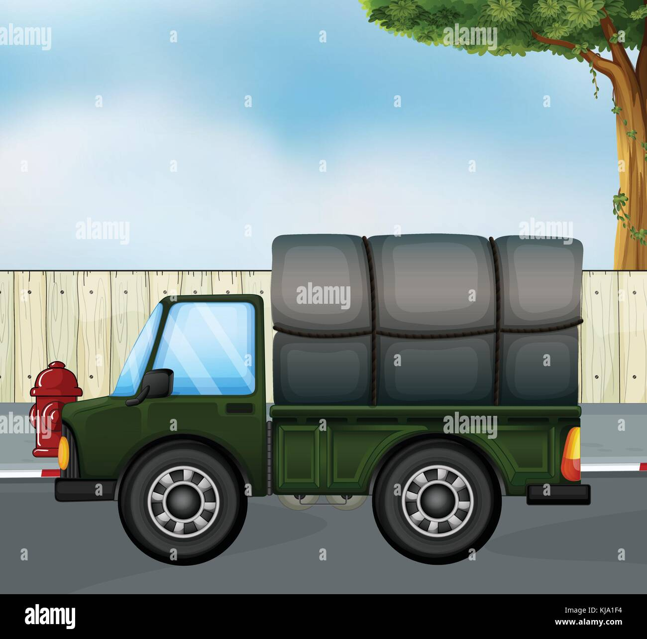 Illustration of a green track with a cargo at the back - Stock Vector