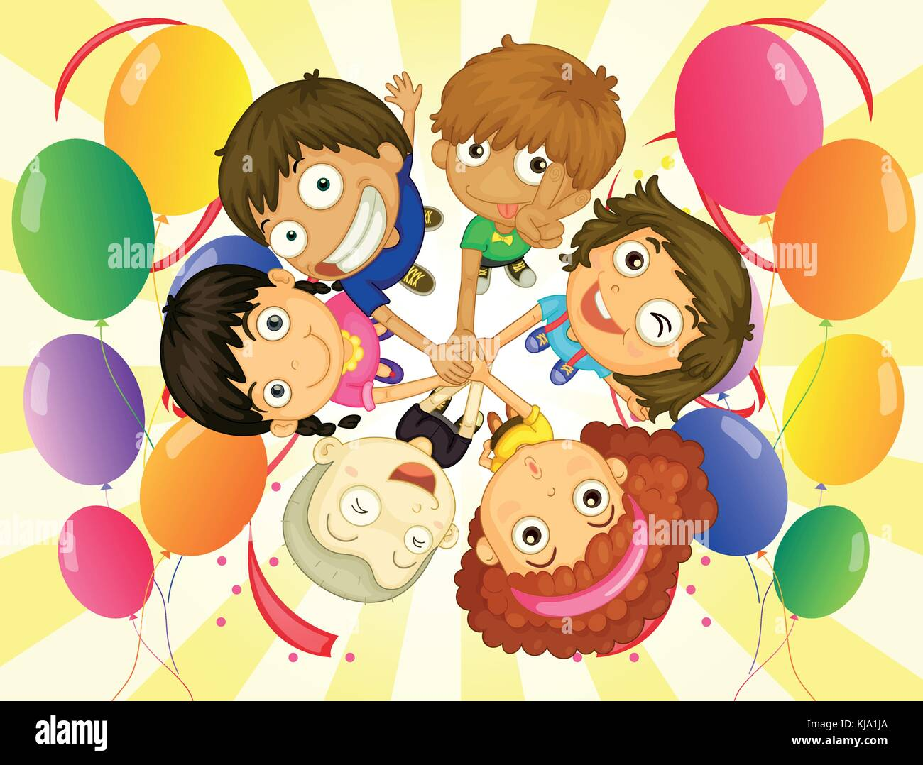 Illustration of the kids in a party on a white background - Stock Vector