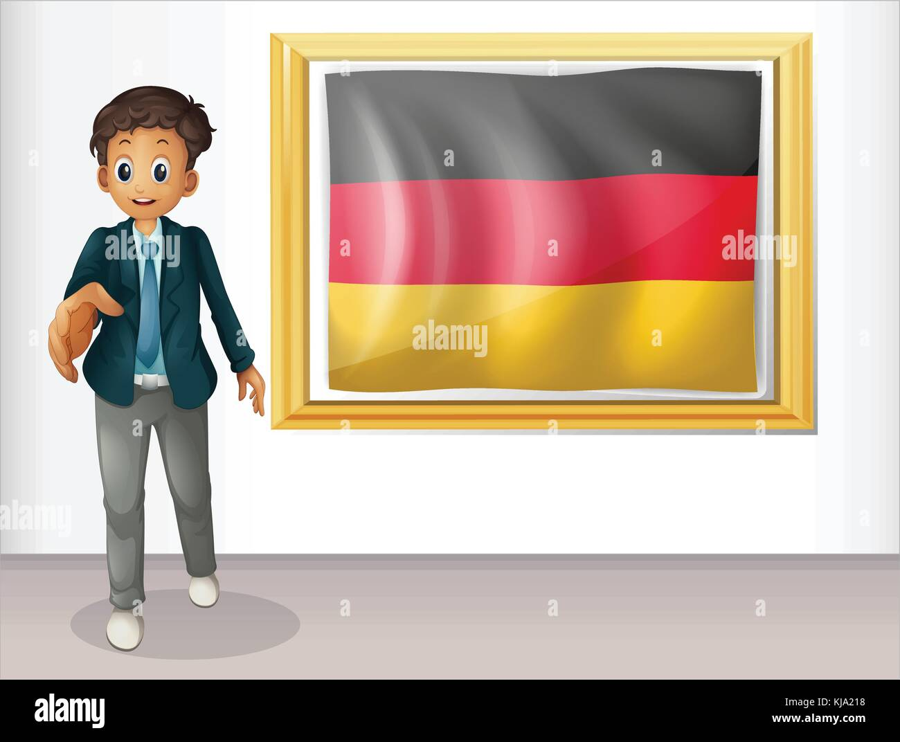 Illustration of a boy beside the framed flag of Germany on a white background - Stock Vector