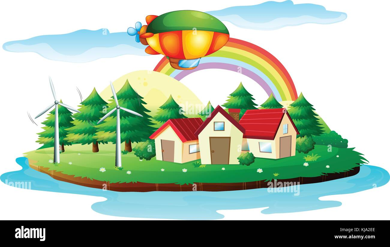 Illustration of a village in an island on a white background - Stock Vector
