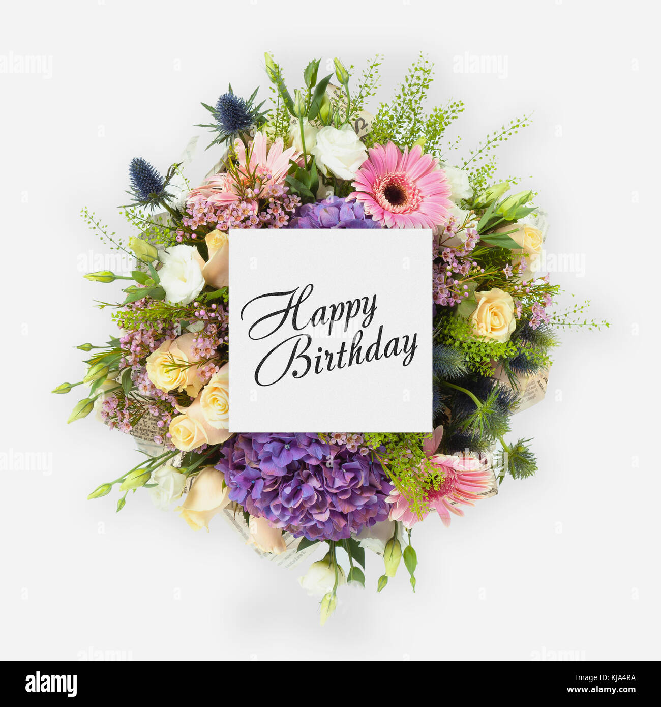 Happy birthday card with flowers flat lay stock photo 166180430 alamy happy birthday card with flowers flat lay izmirmasajfo