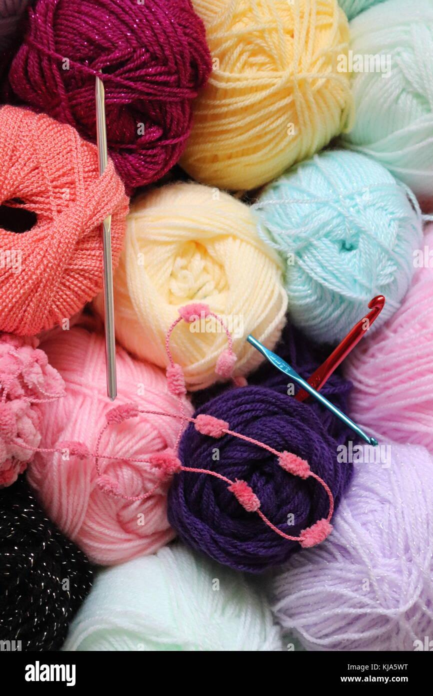 Blanket crochet for warmth - Stock Image