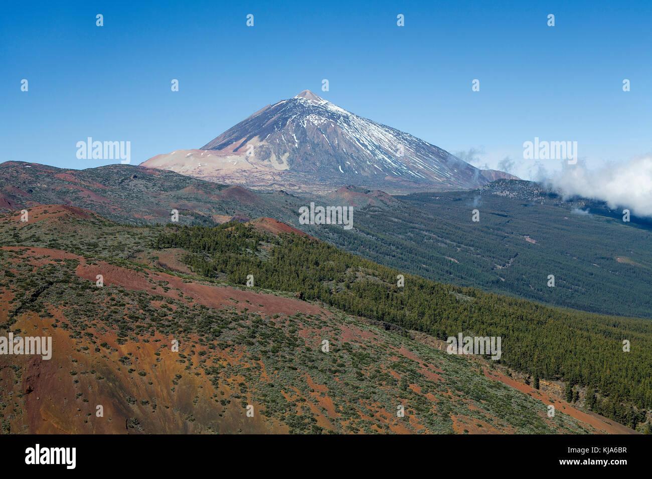 Pico del Teide, with 3718 meter highest mountain on spain territory, UNESCO world heritage site, Tenerife island, - Stock Image