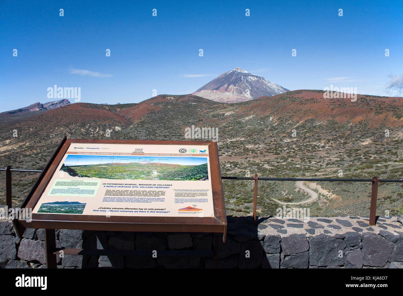 Information board Pico del Teide, 3718 meter, highest mountain on spain territory, UNESCO world heritage site, Tenerife - Stock Image