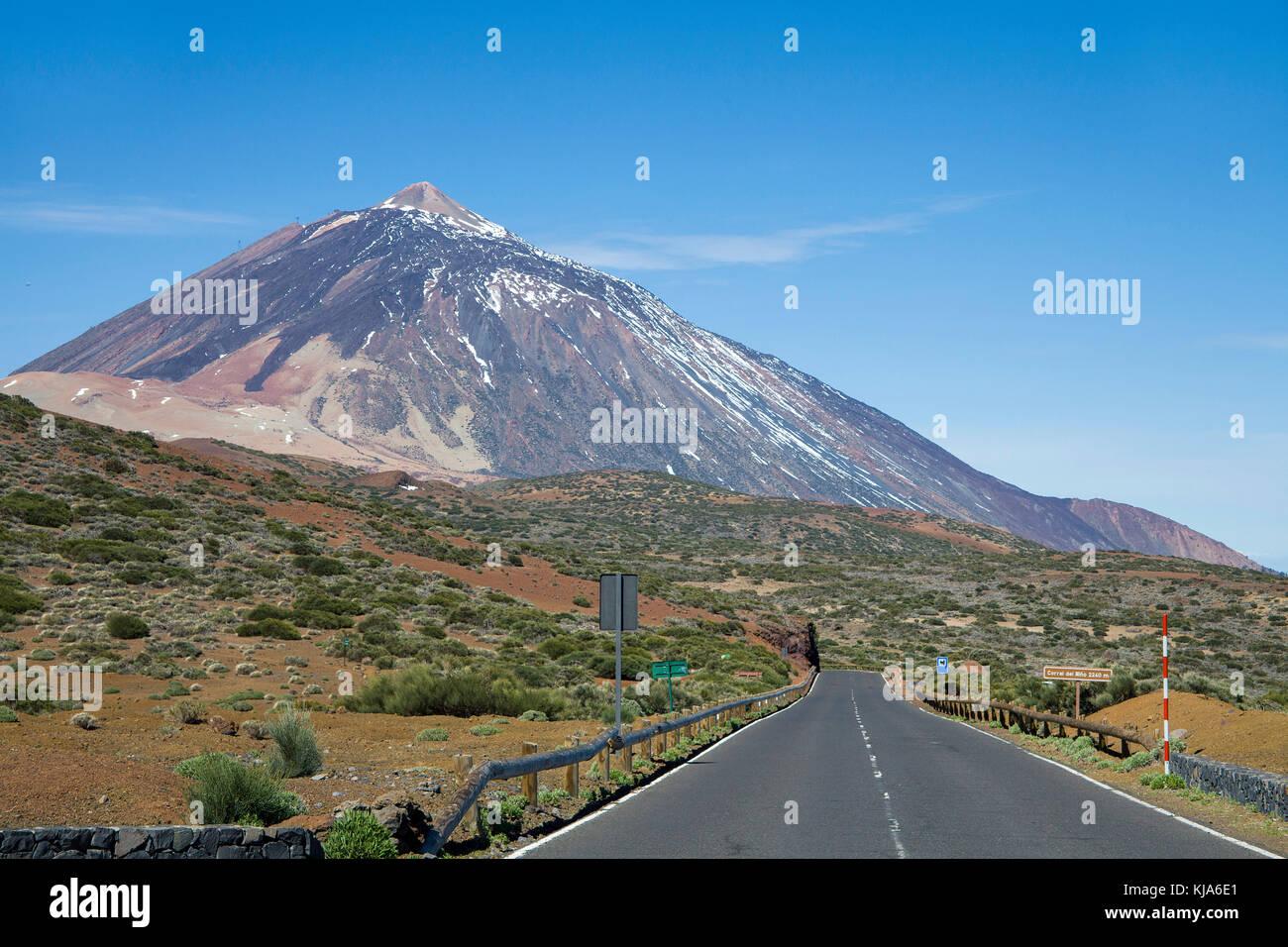 Pico del Teide, 3718 meter, highest mountain on spain territory and UNESCO world heritage site, Tenerife island, - Stock Image