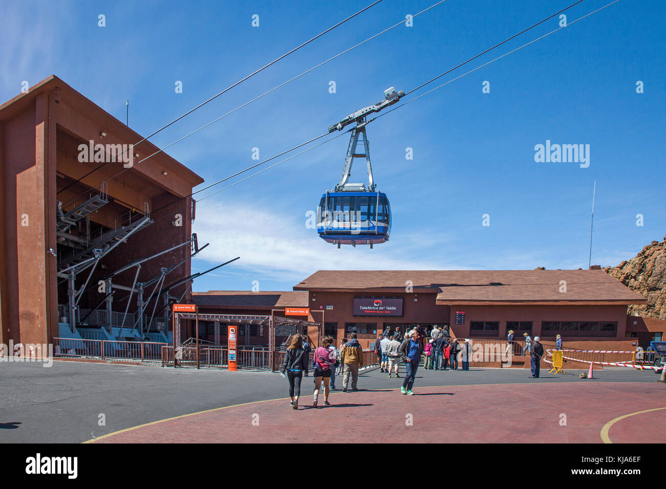 Teide-Seilbahnstation (Teleferico de Teide), cable car to Teide, Tenerife island, Canary islands, Spain - Stock Image
