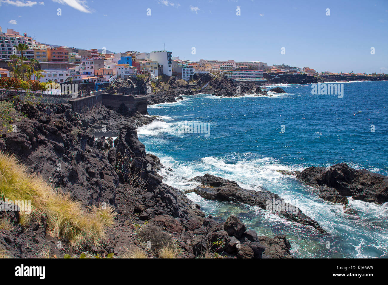 Blick auf Los Gigantes an der Westkueste, view on Los Gigantes, west side of the island, Tenerife island, Canary - Stock Image